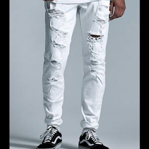 PacSun white destroyed stacked skinny jeans 32×32